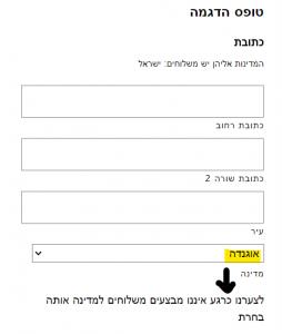 צילום מסך - הדגמת כתובת